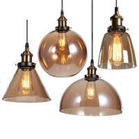 ampoules américaines achat en gros de-Vintage Pendentif Lumières Américain Ambre Verre Pendentif Lampe E27 Edison Ampoule Salle À Manger Cuisine Décor À La Maison Planétarium Lampe