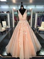 belles robes de marine achat en gros de-Chic Belle longue A-ligne col V Robe de mariée perles Applique Sash Peach Robe de mariée formelle