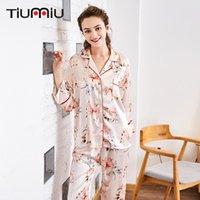 damen pyjama homewear großhandel-Frauen Neuer Qualitäts-Pyjama Sets Retro Blumendruck-Damen V-Ausschnitt Nachtwäsche Startseite Nachtwäsche Wäsche-Frauen-Rosa-Schlaf-Set tragen