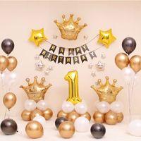ingrosso decorazioni corona di compleanno corona-Forniture per feste a tema corona dorata 1 ° compleanno festa per ragazzi Palloncini per principessa / bambini decorazioni per feste Palloncino in metallo Buon compleanno Banner