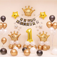 decoraciones de la fiesta de cumpleaños del príncipe al por mayor-Golden Crown Theme Party Supplies 1er cumpleaños Boy Party Globos Prince / Kids Party Decorations Star Balloon Metal Feliz cumpleaños Banner