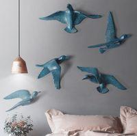 el sanatları çıkartmaları toptan satış-Avrupa Reçine Kuş Duvar Asılı 3D Stereo Çıkartmalar Salon Duvar Ev Dekorasyon El Sanatları Duvar Süsleri