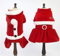 ingrosso vestito del cane del cucciolo del cane-Christmas Pet Dog Costumes Autunno Inverno Teddy Puppy Dog Vestiti di Natale Xmas Dog Transformed Dress Santa Suit Epacket Free