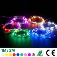 pil aydınlatmalı yılbaşı lambaları toptan satış-1 M 10 LEDs 2 M 20 LEDs Düğme Akülü Şarap Şişesi Bakır Tel Lamba Arkadaşlar Parti Işıkları Dize Noel Partisi Düğün Dekorasyon Işık