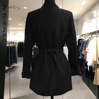 düğme japonya toptan satış-SHENGPALAE Yeni Bahar Sonbahar Japonya Kore Stil Kadın Turn-down Yaka Tam Kollu Sashes İnce Coat Ile Tek Düğme Gelgit FR156