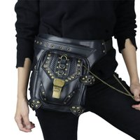 lederbein groihandel-Steampunk Gürteltasche Exklusive Retro Rock Packs Gothic Umhängetasche Vintage Men Women Leather Leg Bag