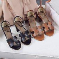 sandálias de sola de tecido venda por atacado-Novas sandálias para mulheres no início da primavera Tecido de couro importado Forro de sola de couro genuínoAs sandálias das mulheres clássicas