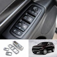 Wholesale car window lift online - For Left Hand Drive For Jeep Grand Cherokee ABS Window Lift Button Plate Decoration Cover Car styling