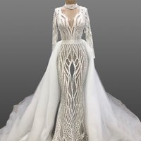 Wholesale pink see through wedding dresses for sale - Group buy Sexy See Through Long Sleeves Lace Appliqued Mermaid Dresses With Detachable Train Luxury Lace Appliqued Beaded Dubai Arabic Bridal Gown