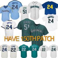 jersey de beisbol cosido al por mayor-51 Ichiro Suzuki Seattle camiseta Marineros 24 Ken Griffey Jr. 22 Robinson Cano Camisetas de béisbol Logotipos 100% Camisetas de béisbol cosidas