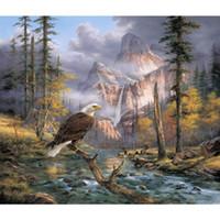 pinturas águias águias venda por atacado-Pinturas de arte do impressionismo Eagles Perch Paisagens óleo lona Handmade art Gift