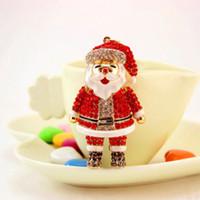 accesorios rojos unisex al por mayor-1 UNID Red Crystal Smile 3D Cadena Dominante de Navidad de Santa Claus Bolsa de Llavero de Santa Colgante Colgando Accesorios Regalo QDD9605
