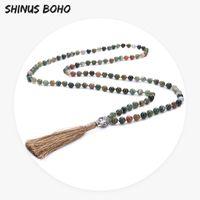 indischen buddha charms großhandel-SHINUSBOHO Frauen Halskette Verknotet Perlen Buddha Charme Yoga Männer 108 Mala Halskette Dropshipping Onyx Stein Indischen Schmuck