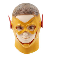 traje amarillo de superhéroe al por mayor-Novedad The yellow Flash Mask Superhero Cosplay Casco Cosplay Disfraz Prop Latex disfraces de cabeza completa Cool Hood Masks Halloween