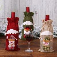 artículos de regalo rojos al por mayor-201909 Creative Christmas Arpillera Old Man Doll Set de botella de vino tinto Bolsa de vino Festival Año nuevo Bolsa de vinos Artículos decorativos Mejor regalo M463A