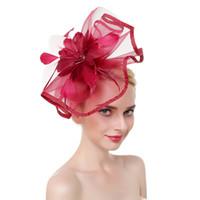 hüte federnetze großhandel-Dropshipping Frauen Hut Stirnband Feder Netz Haarband Kopfbedeckung mit Haarspange Haarband Hochzeit Partyhut