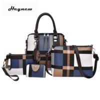 ingrosso set di telefoni di moda-4 pezzi / set sacchetto nappa composito signora moda inghilterra stile blu plaid spalla crossbody borse borse del progettista del telefono per le donne