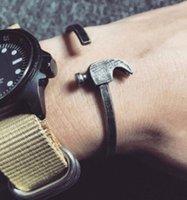 metall-manschetten schwer großhandel-Einstellbar retro edelstahl eisen hammer stereoskopische armband ring stulpearmbänder armband schwermetalle punk rock schmuck gi