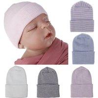 gorros recién nacidos del hospital al por mayor-7 color recién nacido Stirpe sombrero del bebé sombrero infantil de punto de ganchillo cráneo casquillos calientes de algodón suave Beanie rayas de invierno capsula el sombrero del hospital Accesorios M567