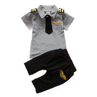 Wholesale military baby clothing for sale - Group buy BibiCola Newborn baby boys Clothing Set Summer infant boy Pilot Clothes Cotton Kids Captain Costume Toddler military uniforms