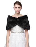 Wholesale black fur stole wrap resale online - New Black Pearl Bridal Wrap Shawl Coat Jackets Boleros Shrugs Regular Faux Fur Stole Capes For Wedding Party