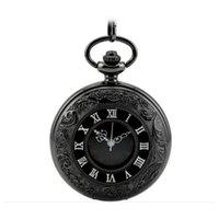 ingrosso macchine da guardia al quarzo-Clamshell Skeleton 45mm antique Steampunk orologio da tasca al quarzo Macchine movimento quadrante romano regalo per uomini e donne Pocket Watch