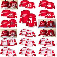 hokey forması pavel toptan satış-2018-2019 Detroit Red Wings Formalar Hokeyi 13 Pavel Datsyuk 40 Henrik 8 Justin Abdelkader 19 Steve Yzerman 71 Larkin 9 Howe 21 Tatar hokeyi