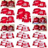 hockey jersey pavel großhandel-2018-2019 Detroit Red Wings Trikots Hockey 13 Pavel Datsyuk 40 Henrik 8 Justin Abdelkader 19 Steve Yzerman 71 Larkin 9 Howe 21 Tatar Hockey