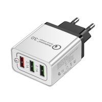 cargadores multiples para telefonos al por mayor-QC 3.0 Cargador de pared 3 puertos Adaptador de viaje Cargador rápido Adaptadores de teléfono USB múltiples UE EE. UU. Portátil Carga rápida para teléfono inteligente