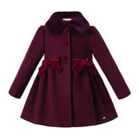 çocuklar için giyim giysileri toptan satış-Pettigirl Kadife Şarap Kırmızısı Kış Kız Coats ile Sahte-Kürk Yaka Tek Breasted Noel Kız Bebek Giyim çocuklar giysi tasarımcısı Güz