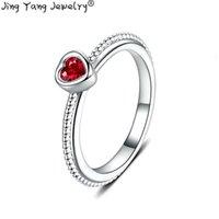 jóias para o dia do casamento venda por atacado-Jingyang Romantic Wedding o coração em forma de jóias mulheres cristal austríaco de moda Anel Para envio do presente do dia Gota Mulheres Namorados