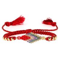 patrón de pulsera de cuerda al por mayor-Cadena de la cuerda de moda borla pulsera MIYUKI cuentas de vidrio tejido patrón de flecha colorido femenino pulsera afortunada Pulsera Dropshipping