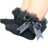 ingrosso le ragazze infantili merlettano i calzini-Bowknot Lace Floral Short Socks Cotone Ruffle Frilly Trim Calzini moda Infant Newborn Toddler Neonate Bambini Principessa