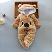 niedliche kleidung für kleinkinder mädchen großhandel-Heißes Verkaufs-Baby, das Jungenmädchen kleidet, kleidet neugeborenen Kleinkindspielanzug des Baumwolle netten neugeborenen Säuglingswinterkleidung