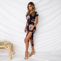 şık moda etekler toptan satış-Kısa kollu V yaka moda kadın yaz etek çizgili ızgara baskılı kız Bohemia Şık sıcak satış elbise çiçek