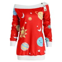camisetas atractivas de la navidad al por mayor-2018 Estrella Impreso Sexy Botón de Hombro T Shirt Mujeres Manga Larga Camiseta Casual Tops Para Navidad Sj1048e J190515