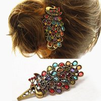 Wholesale Women New Fashion Simple Vintage Women Colorful Crystal Rhinestones Peacock Hair Pin Hair Clip Gift
