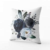 almofada de peônias venda por atacado-Casa Decorativa Algodão Lance Fronha Invisível Zipper Cushion Casos Aquarela Floral Grinalda Rosas Peônias Folhas