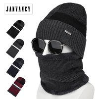 fleece-ski-kragen großhandel-Herren Winter 2 stücke Fleece Strickmützen mit Kragen Russland Dicker Warmer Hut mit Schal Ski Reiten Samt Skullies Balaclava Cap