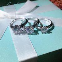 муассанит блестящий оптовых-inbeaut 925 Silver 3 Ct Brilliant Cut Примерное Муассанит кольцо Женский игристые Аутентичные Имитация бриллиантовое кольцо для женщин