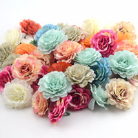 ingrosso decorazioni di fiori artificiali per matrimoni-100 Pz 6 CM Seta Di alta qualità Rosa Fiori Artificiali Testa Matrimoni Decorazione Casa Arredamento Da Giardino Artigianato FAI DA TE Fiore Finto