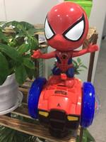 demir oyuncak arabalar toptan satış-Yeni 2019 intikamcı Örümcek Adam dengesi elektrikli oyuncak araba Çocuk elektrikli müzik dans demir adam oyuncak car112