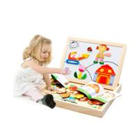 placa de brinquedo magnética venda por atacado-3D Montessori personagem De Desenho Animado dupla face puzzle magnético das crianças brinquedos de desenho placa de madeira brinquedos educativos