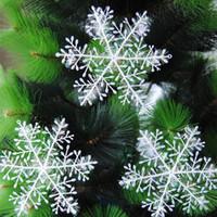decoração de natal neve artificial venda por atacado-30 pçs / lote Branco Flocos De Neve De Plástico Enfeites de Árvore de Natal Decorações de Neve Artificial Para O Ano Novo de Natal Em Casa Decorações