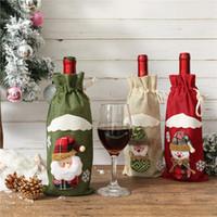 decoración de mesa al por mayor-Botella de vino de Navidad Moda Cubiertas ciegas los vinos de Champagne embalaje de regalo Bolsas Halloween Party Dinner Table Decorar TTA1810