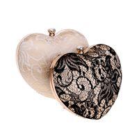 bolsos de encaje de diseño al por mayor-Bolso del cordón de las mujeres para el bolso de la forma del corazón del diseñador del partido de cena para el bolso de Crossbody de la marca de las señoras para la boda