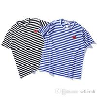 t-shirts schwarzes herz großhandel-Herren Designermode T-Shirt Rotes Herz Streifen T-Shirt Schwarz und Weiß Herren Baumwolle Kurzarm Lässige Rundhals Shirt