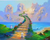 ingrosso pannelli di verniciatura africana del paesaggio-Fantasy Art cani vanno in paradiso, pittura a olio di stampa di alta qualità di riproduzione Giclee su tela Modern Home Art Decor