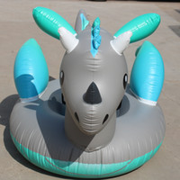 Wholesale inflatable dragons online – ideas Australia Silver Dragon Inflatable Floats Dinosaur Unicorn Thickening Swimming Ring Fold Portable Anti Wear Summer Beach Hot Sale ydI1