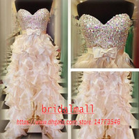 Wholesale tiered organza line dress for sale - Group buy Beaded Crystals Satin High Low Prom Dresses Sexy Tiered Ruffles Skirts Champagne Formal Party Gowns Short Homecoming Graduation Dresses